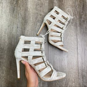 Vince Camuto Snakeskin Caged Leather Heels 9.5